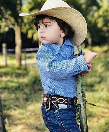 Camisa Country Infantil Xadrez Azul e Branco