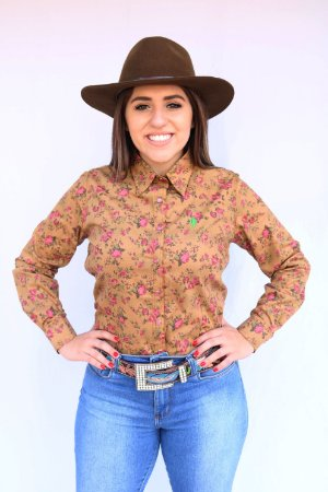 Camisa Feminina Country Rosas