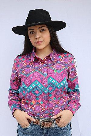 Camisa Feminina Country Étnica Arabesco