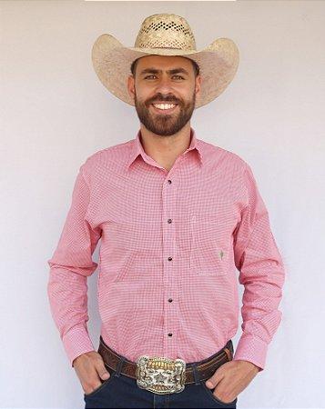 Camisa Masculina Country Xadrez Americano Vermelho e Branco