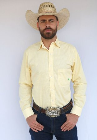 Camisa Masculina Country Xadrez Texas Amarela