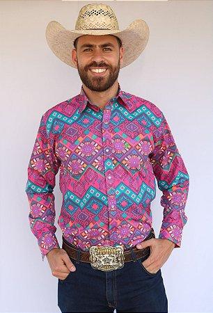 Camisa Masculina Country Étnica Arabesco