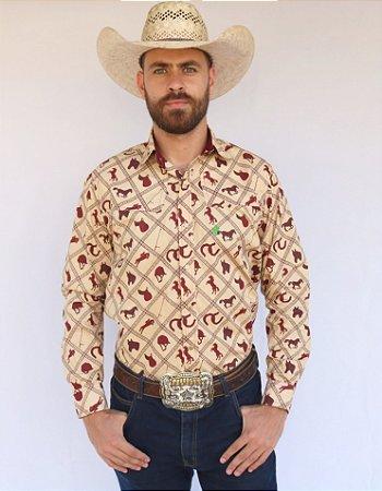 Camisa Masculina Country Bege Horse Vinho