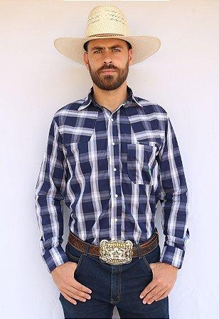 Camisa Masculina Country Xadrez Azul e Cinza