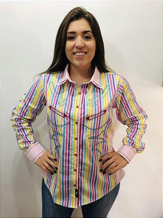 Camisa Feminina Country Bordada Listrada