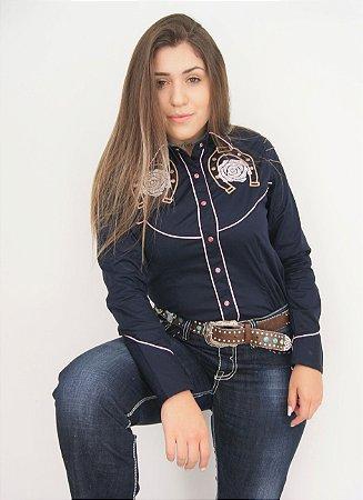 Camisa Feminina Country Bordada Azul Marinho
