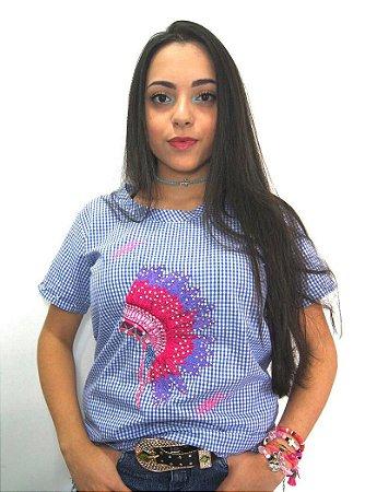 T-Shirt Cocar Feminina Azul