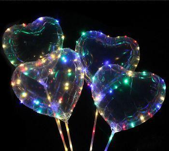 Kit 10 Balões de LED Coração 18 Pol Completo