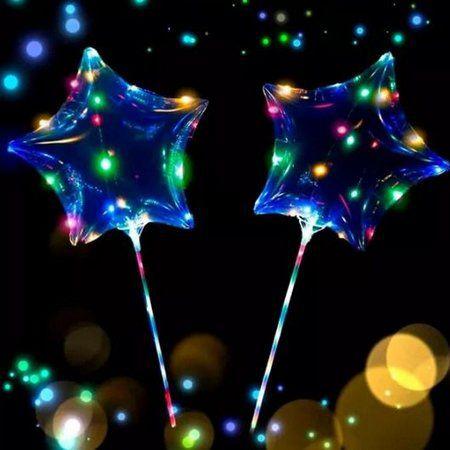 Kit 10 Balões de LED Estrela 18 pol Completo