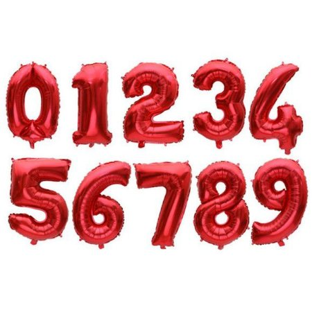 Balão Metalizado Número Vermelho Médio