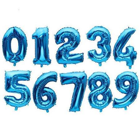 Balão Metalizado Número Azul Pequeno