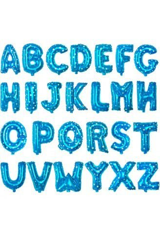 Balão Metalizado Azul Alfabeto Gigante