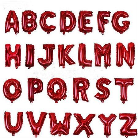 Balão Metalizado Vermelho Alfabeto Médio