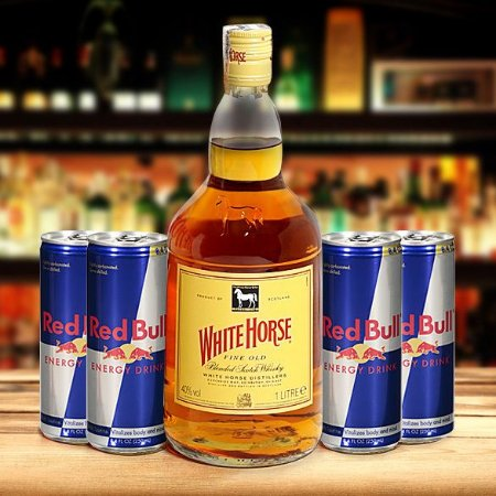 Combo: Whisky White Horse 1L + 4 Energéticos Red Bull