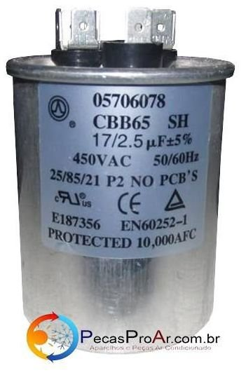 Capacitor 17+2,5 MF 450V 38KCB009515MS