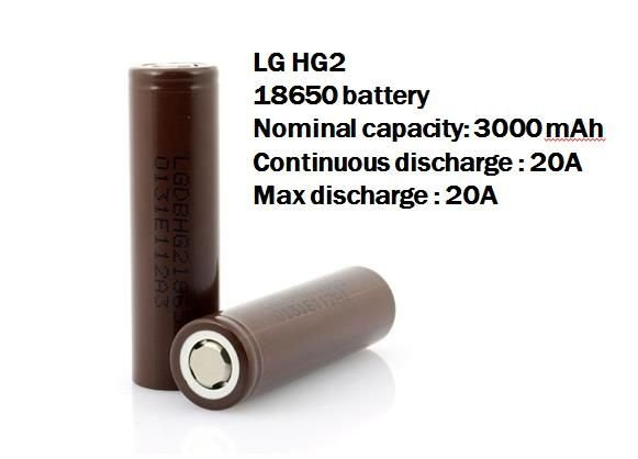 Bateria LG Chocolate 18650 Li-Ion HG2 3.6V 3000mAh High Drain 20A Flat Top - LG