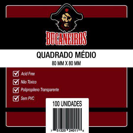 Sleeves Bucaneiros 80x80mm - QUADRADO MÉDIO - com 100 Unidades