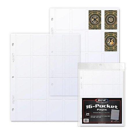 Folhas de Fichário Plásticas BCW - 16 Bolsos - Cartas Mini USA