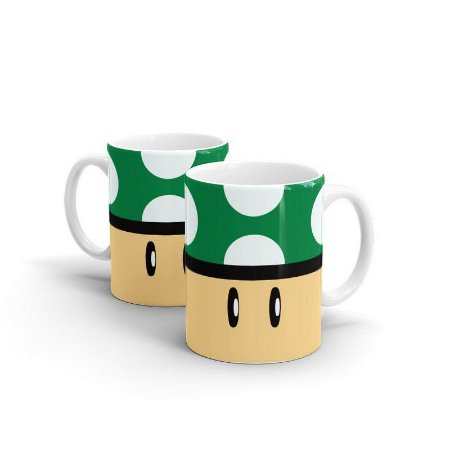 Caneca Super Mario - Cogumelo Verde - 1 UP