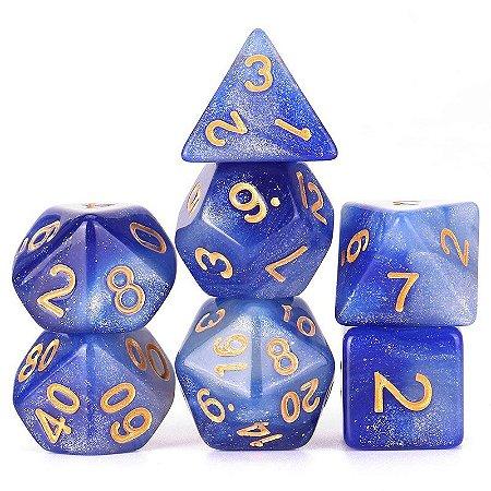 Conjunto de Dados para RPG - Glitter - Azul e Branco