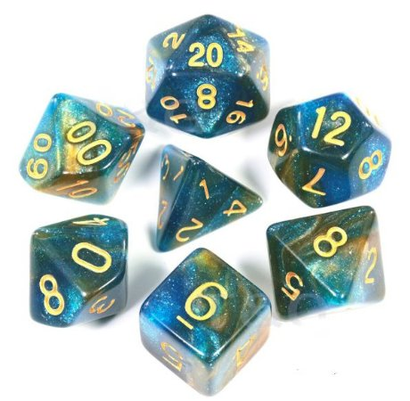 Conjunto de Dados para RPG - Glitter - Turquesa e Cobre