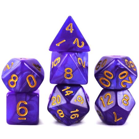 Conjunto de Dados para RPG - Mármore - Roxo e Dourado