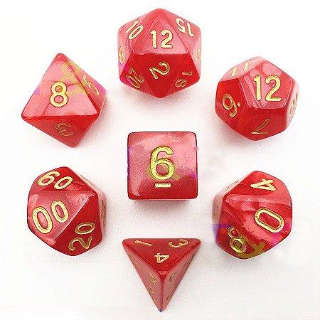 Conjunto de Dados para RPG - Mármore - Vermelho e Dourado
