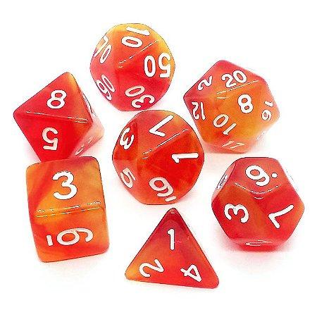 Conjunto de Dados para RPG - Translúcido - Vermelho e Amarelo