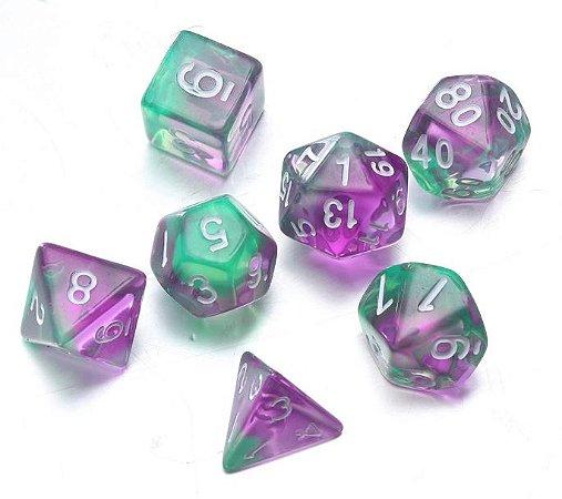 Conjunto de Dados para RPG - Translúcido - Verde e Roxo