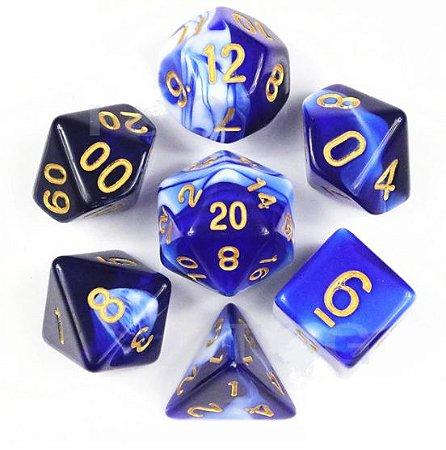Conjunto de Dados para RPG - Mesclado - Azul e Branco