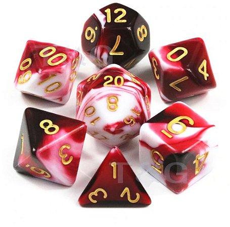 Conjunto de Dados para RPG - Mesclado - Vermelho e Branco
