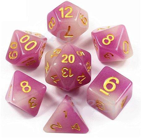 Conjunto de Dados para RPG - Fluorescente - Rosa