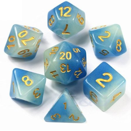 Conjunto de Dados para RPG - Fluorescente - Azul