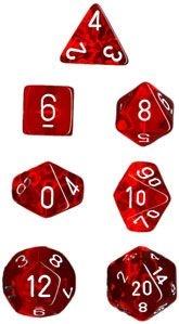 Conjunto com 7 Mini Dados (d4, d6, d8, 2 d10, d12 e d20) Vermelho Translúcido CHESSEX