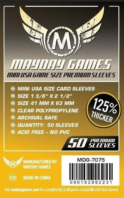 Sleeves Mayday 41x63mm - Mini USA - PREMIUM para Zombicide - Com 50 unidades