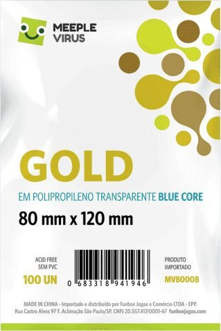 Sleeves Meeple Virus - Gold BLUE CORE 80x120mm c/100