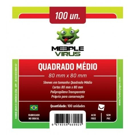 Sleeves Meeple Virus 80x80mm - Quadrado Médio - com 100