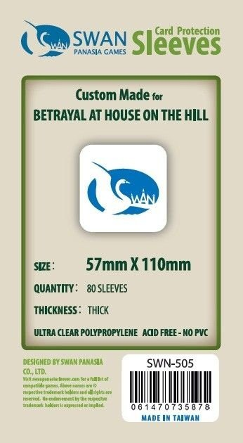 Sleeves Swan Panasia Games 57x110mm - Custom Made for BETRAYAL AT HOUSE ON THE HILL - THICK com 80 Protetores de carta