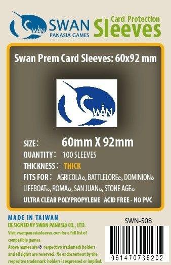 Sleeves Swan Panasia Games 60x92mm - Custom Made for STONE AGE - THICK com 100 Protetores de carta