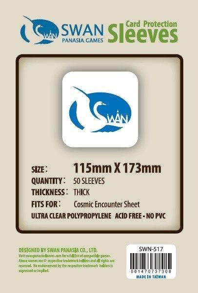 Sleeves Swan Panasia Games 115x173mm - Custom Made for COSMIC ENCOUNTER SHEET - THICK com 50 Protetores de carta
