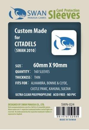 Sleeves Swan Panasia Games 60x90mm - Custom Made for CITADELS - THIN com 160 Protetores de carta