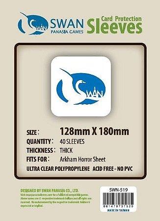 Sleeves Swan Panasia Games 128x180mm - Custom Made for ARKHAM HORROR SHEET - THICK com 40 Protetores de carta
