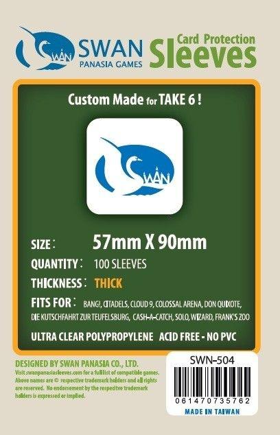 Sleeves Swan Panasia Games 57x90mm - Custom Made for TAKE 6! - THICK com 100 Protetores de carta