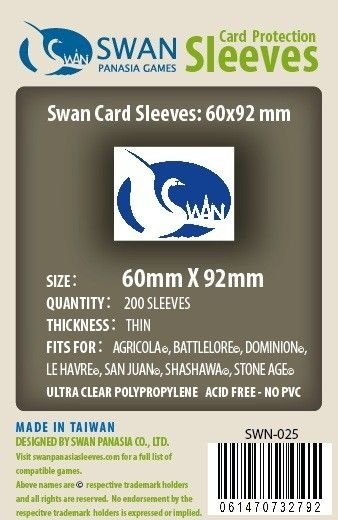 Sleeves Swan Panasia Games 60x92mm - Custom Made for LIFEBOAT - THIN com 160 Protetores de carta