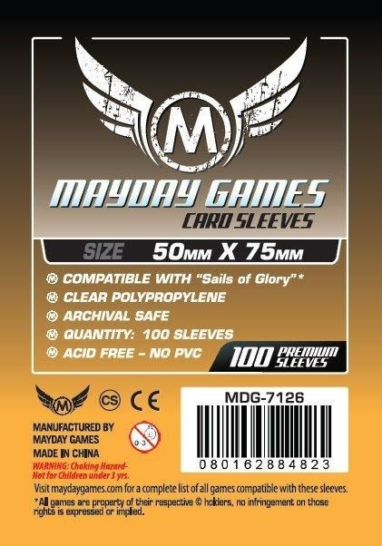 Sleeves Mayday 50x75mm - Sails of Glory - com 100 Protetores
