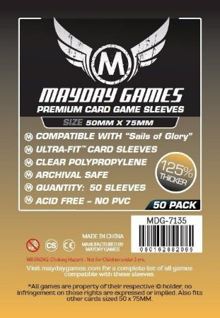 Sleeves Mayday 50x75mm - Sails of Glory - PREMIUM com 50