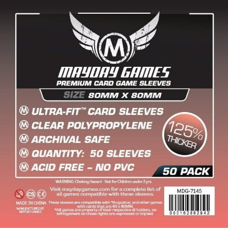 Sleeves Mayday 80x80mm - Medium Square - PREMIUM com 50