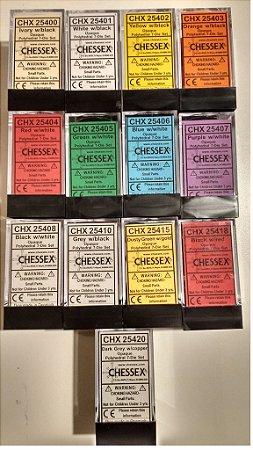 Conjunto de 7 Dados Chessex (d4, 46, d8, 2d10, d12, d20) - Opaco