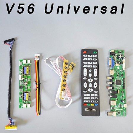 Kit Placa Controladora Universal Lcd V56 Para Telas LCD de lampadas