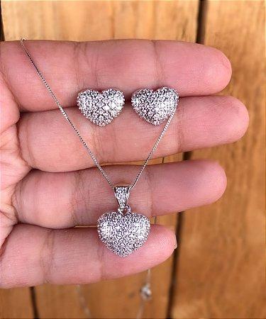 Conjunto coração pedras cristais